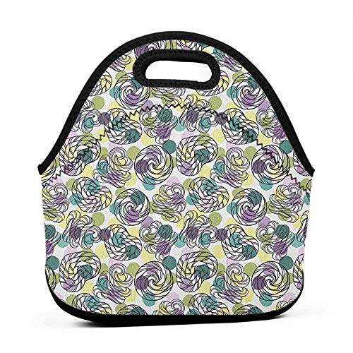 Convenient Lunch Box Tote Bag Abstract,Outline Lollipop Candy Figures Spiral Sweets on Pastel Color Polka Dot Background, Multicolor,for fox sake lunch bag ()