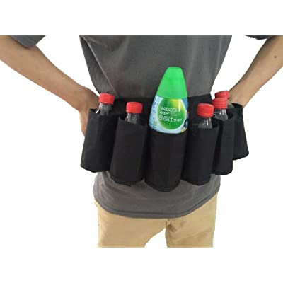 HevaKa 100% cotton Outdoor mountaineering & Hiking backpack - drink beer belt carry(Holds 6 cans) - Black