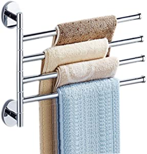 Towel Bars Holder Swing Towel Racks Towel Rack Holder Wall Mounted Towel Holder with Hooks 4-Bar Oil Rubbed Bar Swivel Hanger Swivel Towel Rack Towel Holder Swing Bar Rack Towel Bar Swivel Hanger