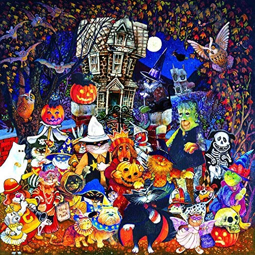 Cats and Dogs on Halloween 500 pc Jigsaw Puzzle by -