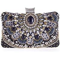 Women Elegant Crystal Rhinestone Beaded Magnet Clasp Party Evening Clutch Bag Purse Black