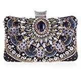 Women Elegant Crystal Rhinestone Beaded Magnet Clasp Party Evening Clutch Bag Purse Black