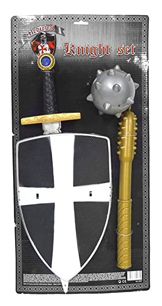 Kinder Ritterset Schwerter Schutz-Schild Stirnschutz FASCHING Spiel Set 4-tlg