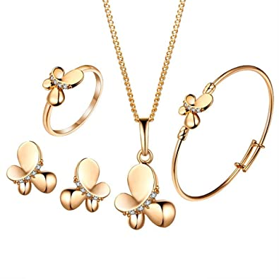 BOBIJOO Jewelry - Ensemble Lot Parure 6 Bijoux Enfant Fille Papillon Strass  Doré à l  4ed168ea37b