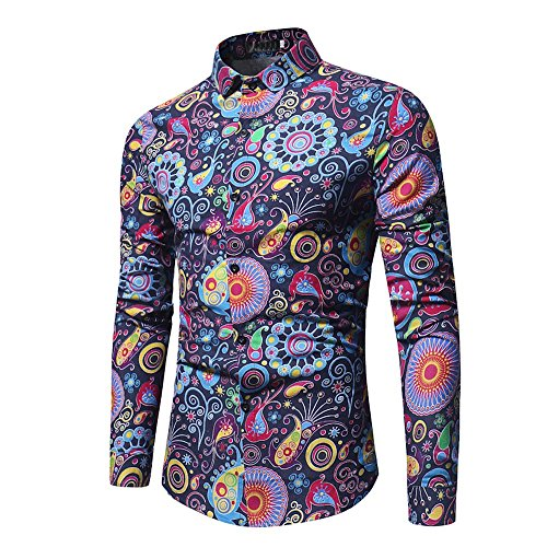 Clearance!! Men Slim Fit Shirt,Lelili Long Sleeve Turn-Down Collar Button Down Floral Print Shirt Tops Business Blouse (XL, Navy) (Floral Vintage Sport Shirt)