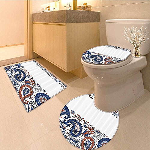 3 Piece Toilet Cover setTraditiona Eastern Filigree with Esoteric Spiritua Blooms Print Fabric Set with Hooks Extra Soft Memory Foam Combo - Rug, Contour Mat and Lid Cover ()