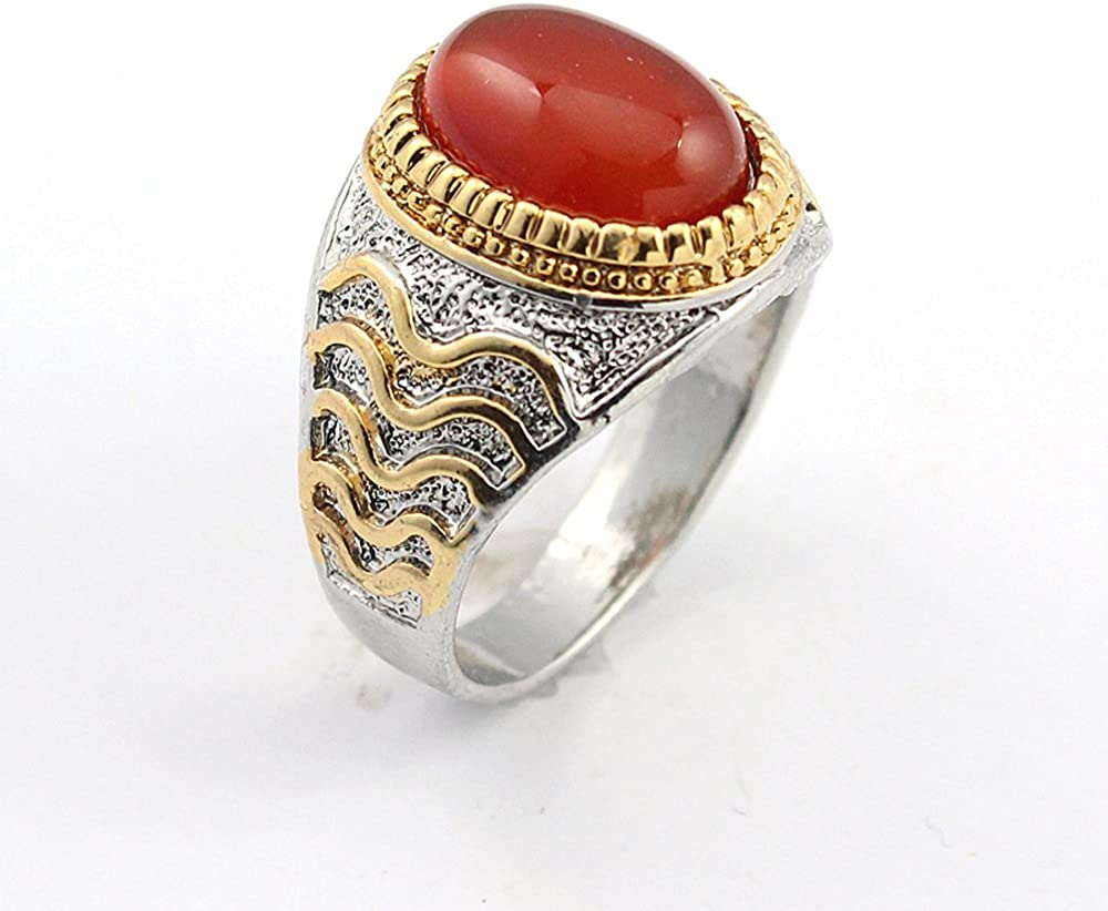 BEST QUALITY CARNELLIAN FASHION JEWELRY SILVER PLATED AND BRASS RING 10 S22660