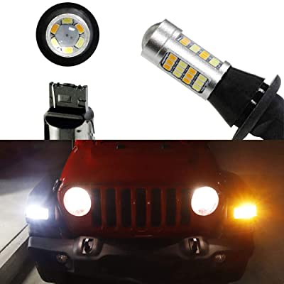 iJDMTOY (2) Front Turn Signal Lamps 42-Diodes White/Amber LED Daytime Running Light, LED Blinker Conversion Kit Compatible With 2020-up Jeep Wrangler JL Sport Trim: Automotive