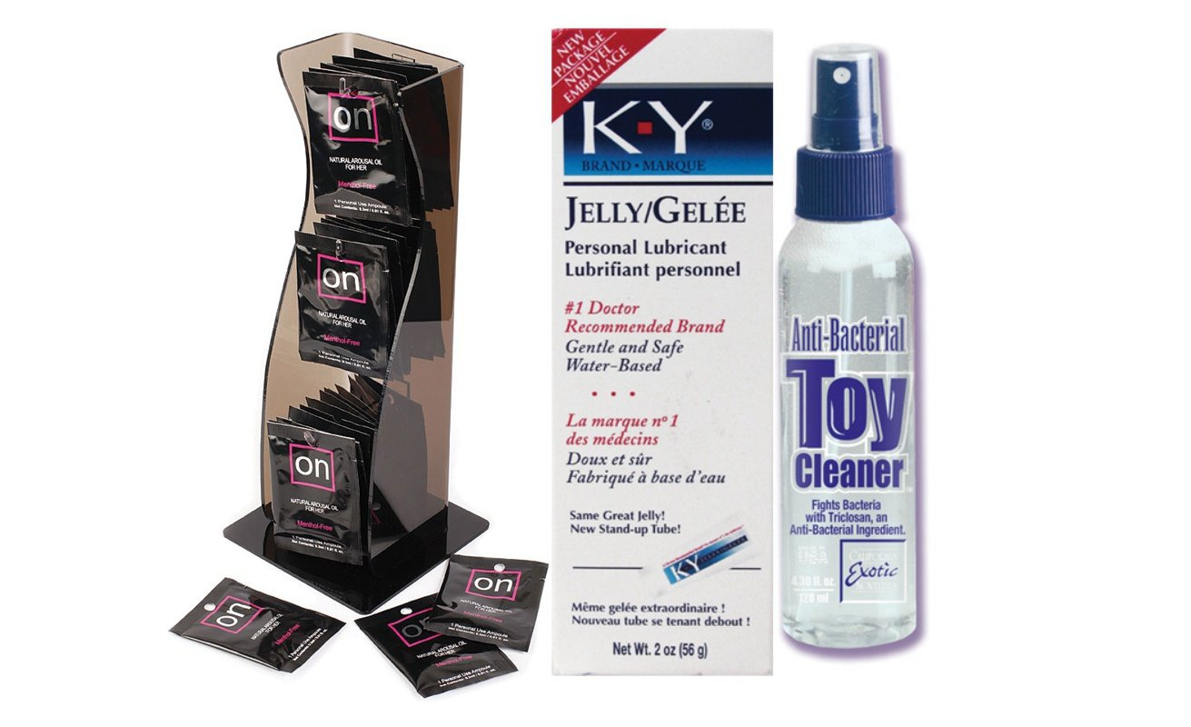 Bundle Package Of On Arousal Oil For Her Ampoule DP (40) And Anti-bacterial Toy Cleaner 4.3oz. And a K-Y Jelly 2oz. Tube by Valencia Naturals, LLC dba Sensuva