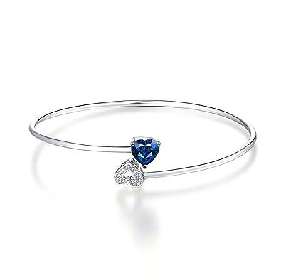 476d1aaa596 Caperci Sterling Silver Created Blue Sapphire Flex Double Heart Cuff Bangle  Bracelet for Women