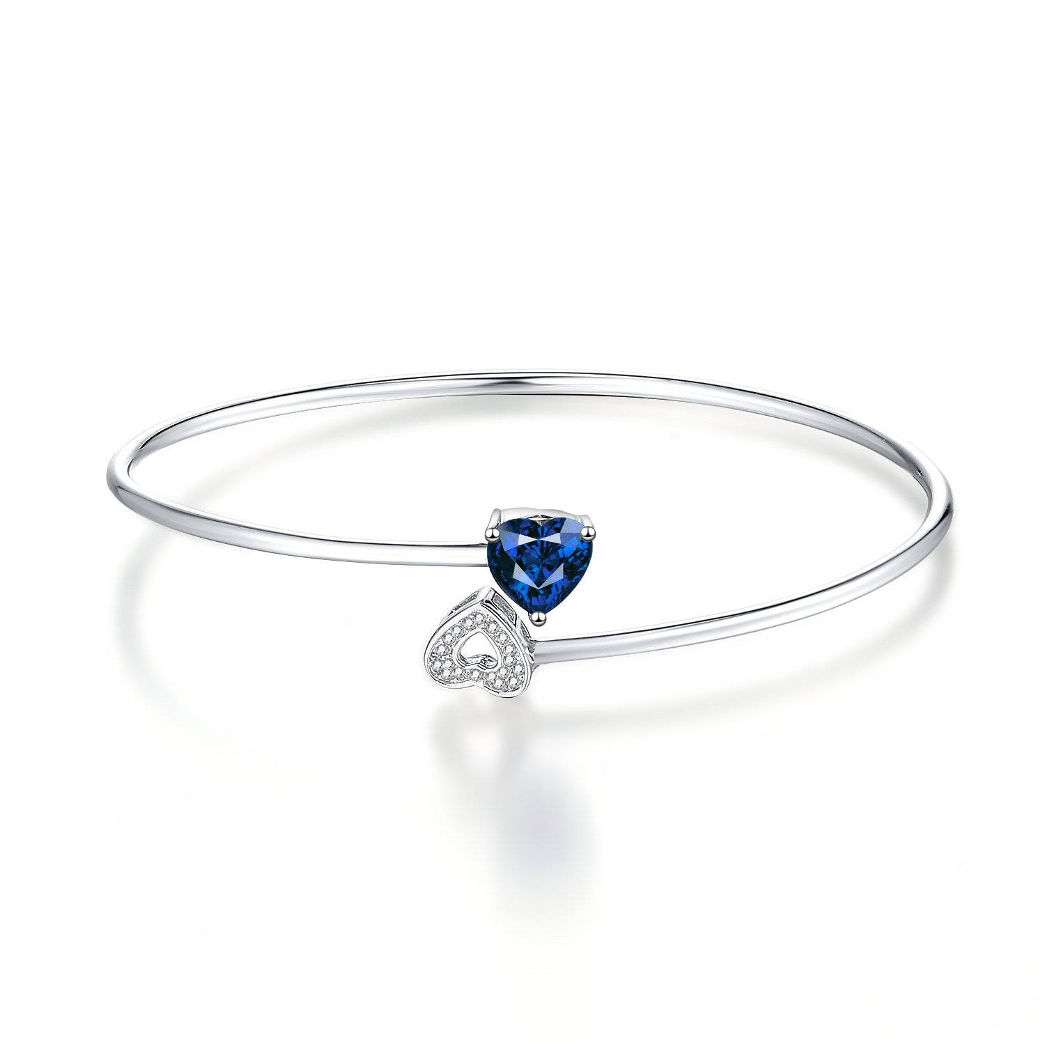 Caperci Sterling Silver Created Blue Sapphire Flex Double Heart Cuff Bangle Bracelet for Women, 7''