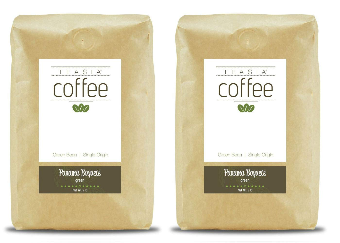 Teasia Coffee, Panama Boquete, 2-Pack, Single Origin, Green Unroasted Whole Coffee Beans, 5-Pound Bag