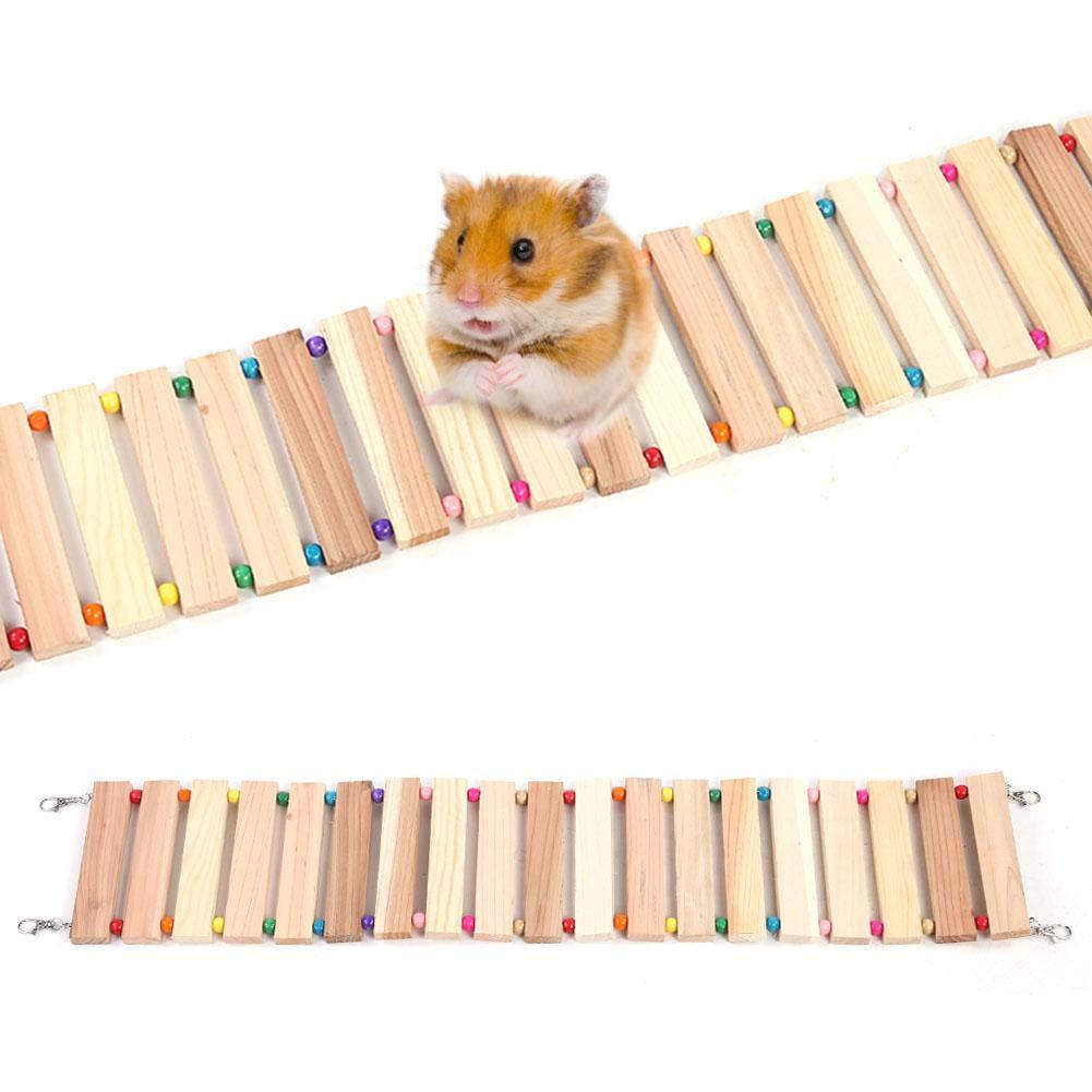 L Wood Hanging Soft Bridge Widen Cage for Parrots Birds Squirrel Pet Ladder Toy