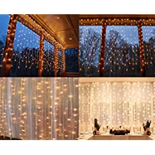 String lights Window Curtain,300 LED Icicle Fairy Twinkle Starry Lights-UL Listed for Indoor & Outdoor, Wedding, Christmas, Home Bedroom Wall Decoration, Party (9.8ftx9.8ft, Warm white)