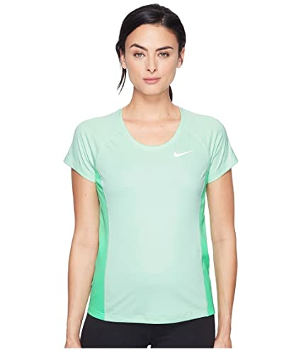 Nike Dry Miler Short Sleeve Running Top Fresh MintElectro GreenReflective Silver Womens Clothing