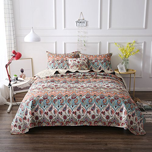 DaDa Bedding Bohemian Bedspread Set - Coral Floral Paisley Garden Party Reversible Coverlet - Bright Vibrant Multi-Colorful Blue Salmon Pink - Cal King - 3-Pieces - Morocco Comforter Set