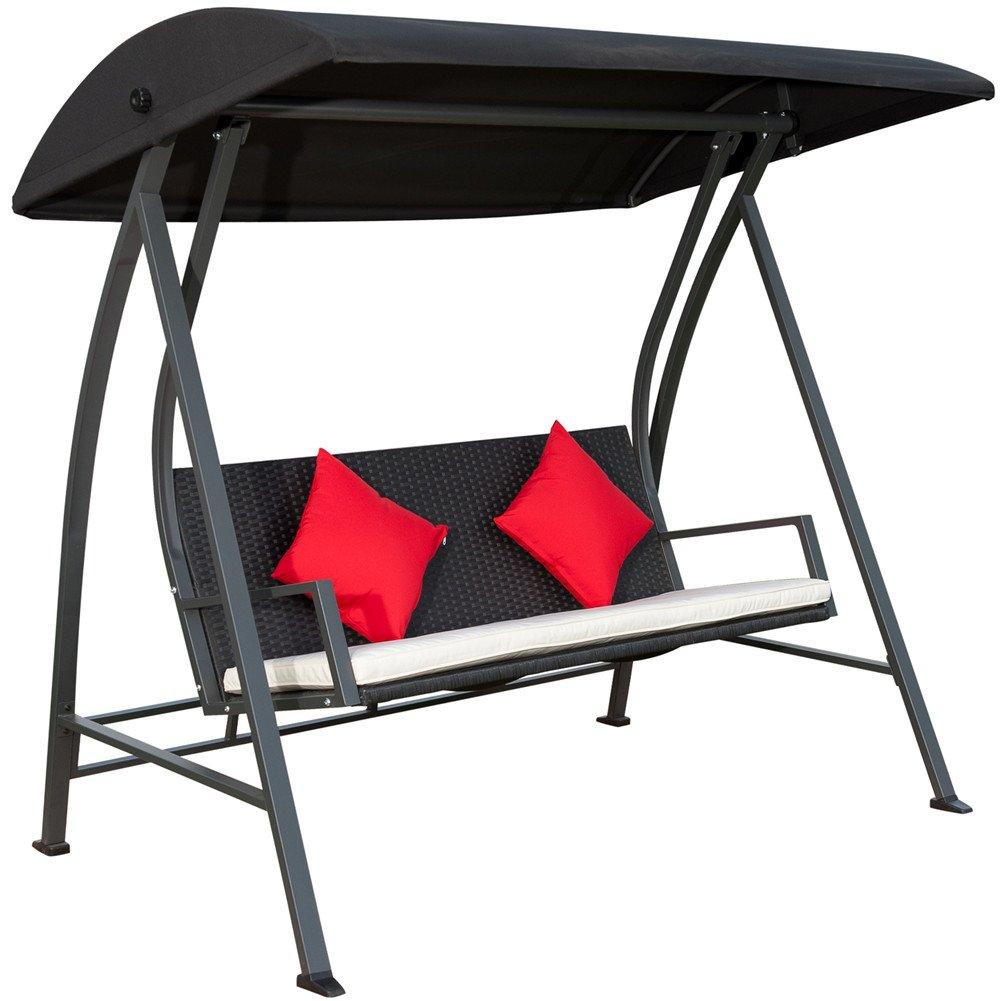 amazon com porch swing outdoor lounge chair seats 3 patio pe