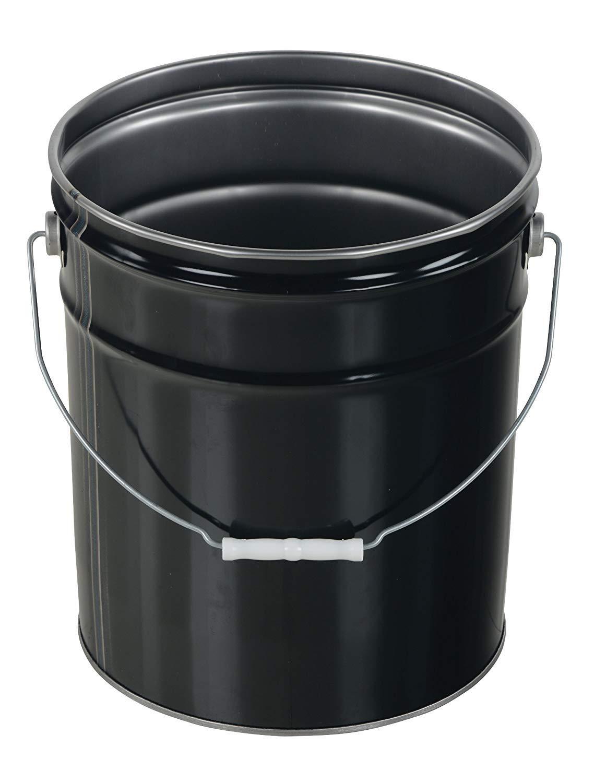 Pack of 2 Black 5 Gallon Capacity Vestil Pail-STL-RI Steel Open Head Pail with Handle