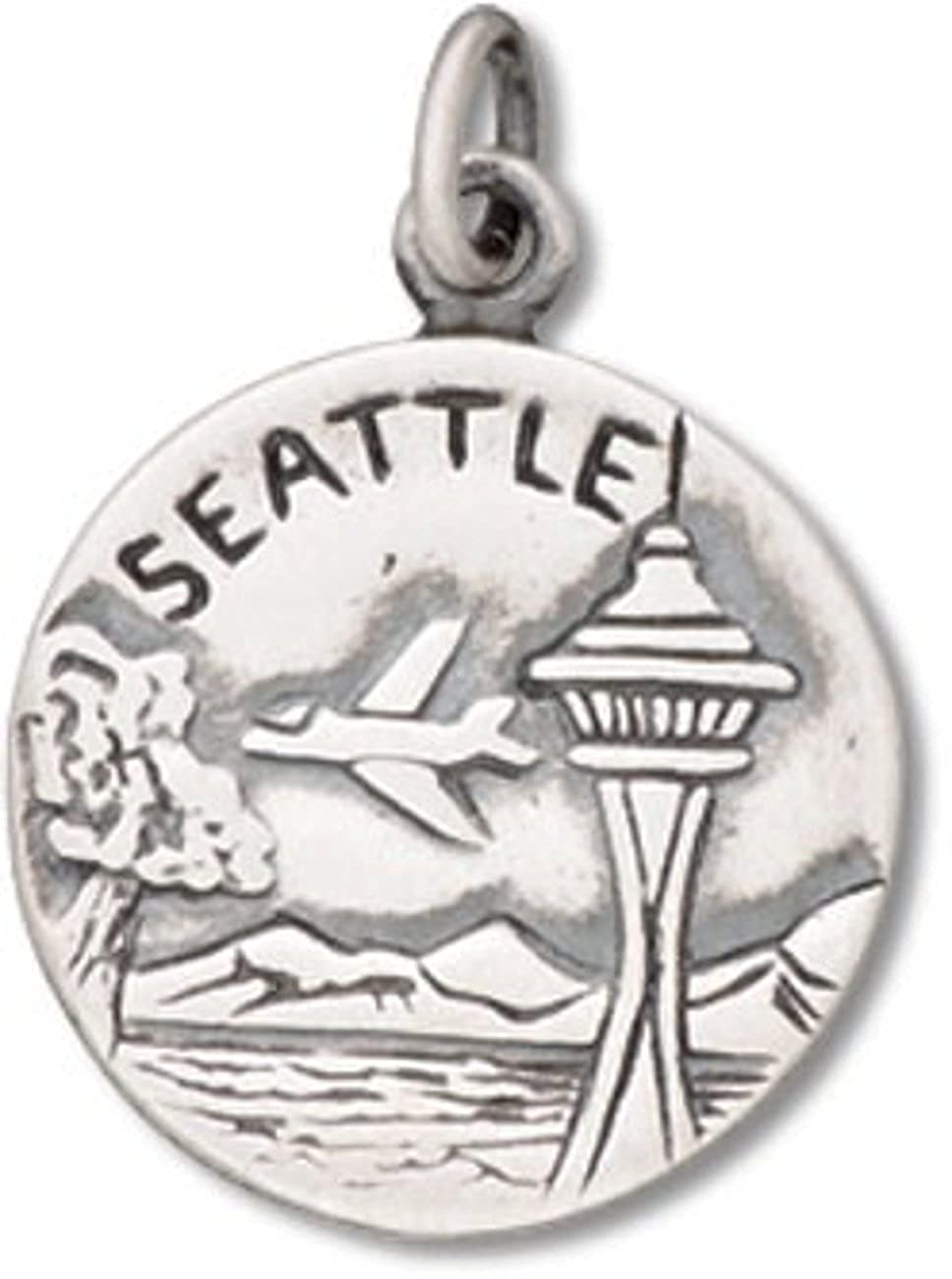Sterling Silver 7 4.5mm Charm Bracelet With Attached City Of Seattle City Of Goodwill Two Sided Charm