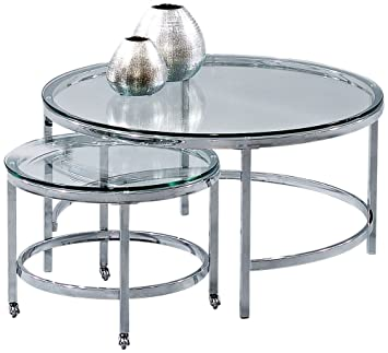 Bassett Mirror Patinoire Round Cocktail Table On Casters In Chrome Plate