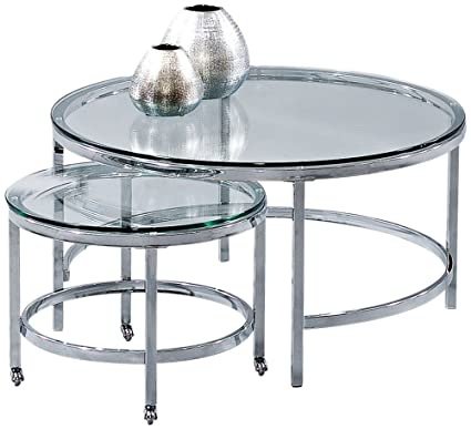 Amazon Com Bassett Mirror Patinoire Round Cocktail Table On Casters