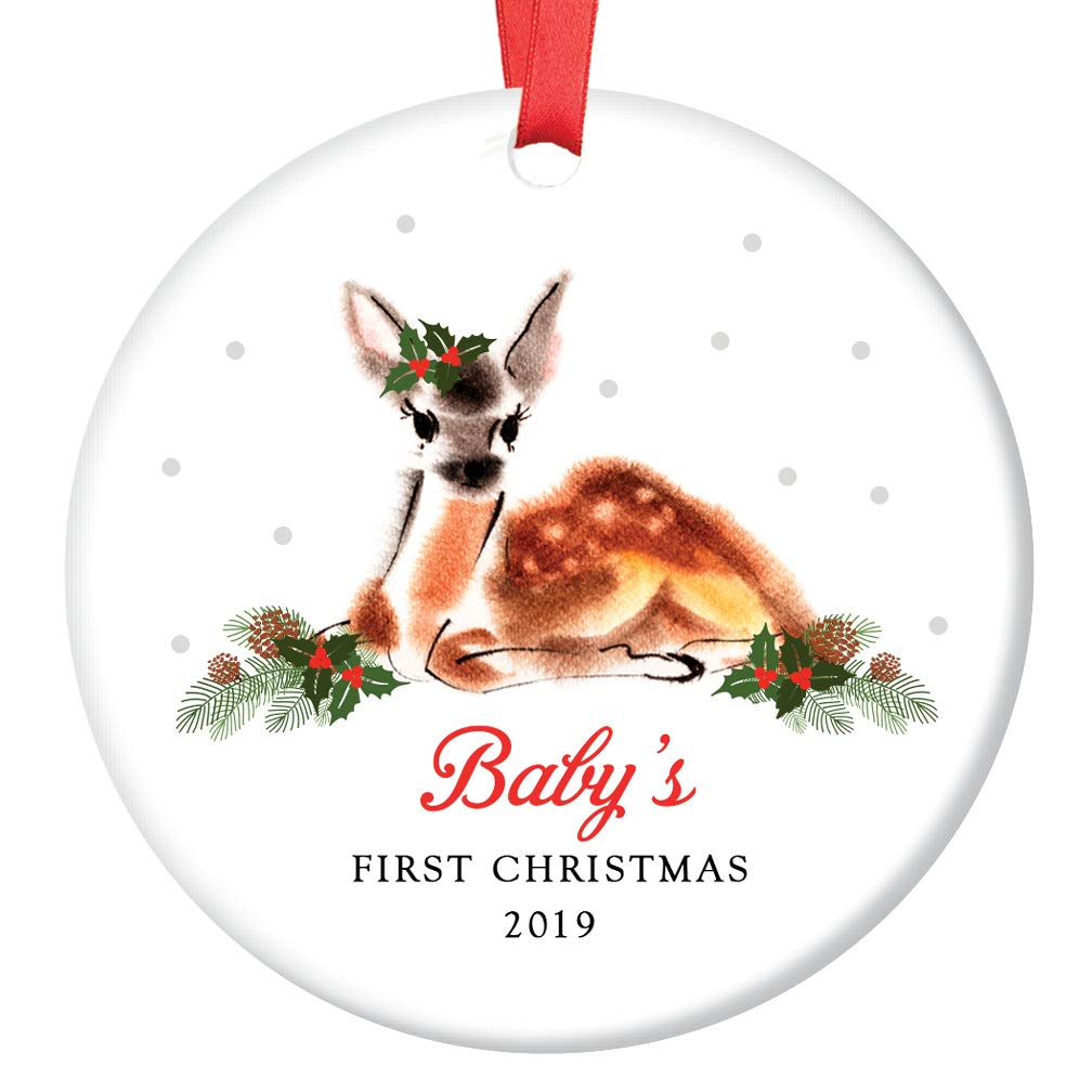 Baby Girls First Christmas Ornament 2019 Adorable Infant Deer Ceramic Keepsake for 1st Holiday Mommy /& Daddys Newborn Daughter Female Child 3 Flat Porcelain with Red Ribbon /& Free Gift Box OR00202