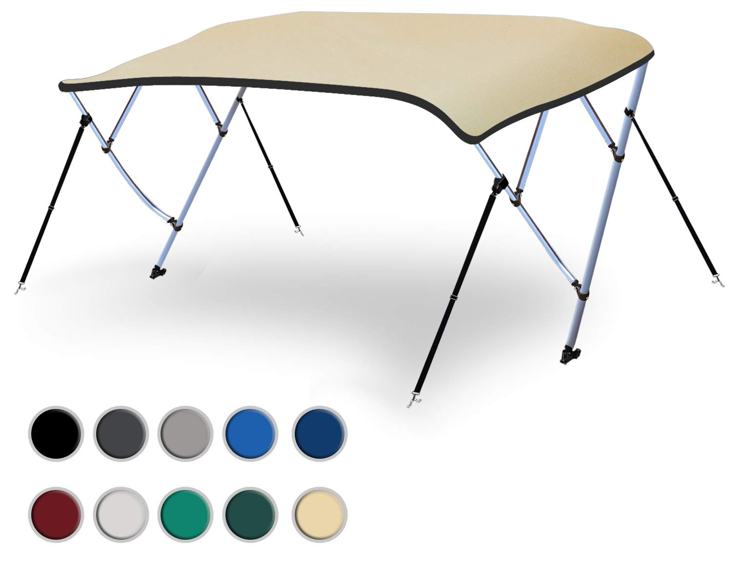 Naviskin Sand 3 Bow 6'L x 46'' H x 54''-60'' W Bimini Top Cover Includes Mounting Hardwares,Storage Boot with 1 Inch Aluminum Frame by Naviskin