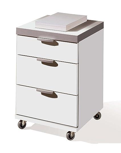 Cajonera o buck para escritorio, oficina o despacho con 3 cajones, guias metalicas, color blanco brillo y ruedas 58x41x40. Tapa de 35mm