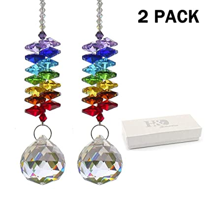 H&D Chandelier Crystals Prisms Rainbow Chakra Suncatcher with Beads  Decorating Hanging Ornament (Multi-6/2pcs)