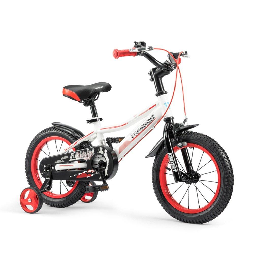 HAIZHEN マウンテンバイク 子供用の自転車、トレーニングホイール付きユニセックス子供用自転車、様々なトレンディな機能、12,14,16および18インチ、おしゃれな男の子と女の子のための贈り物 新生児 B07C44WLJQ 12 inch|Red+White Red+White 12 inch