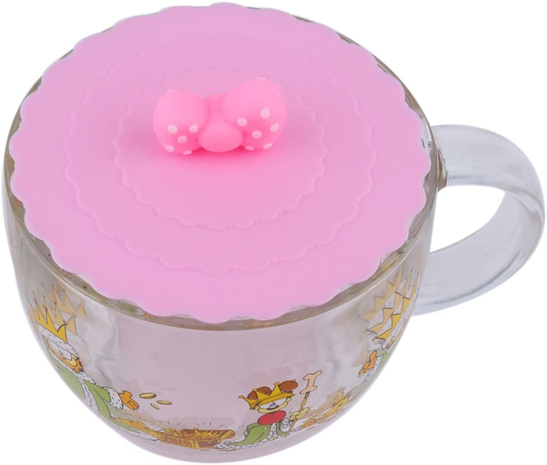 AngellCity Cute Anti-dust Silicone Glass Cup Cover Coffee Mug Suction Seal Lid Cap Silicone Airtight Love Spoon Novelty Pink