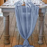 QueenDream Dusty Blue Sheer Table Runner 10Ft Chiffon Table Runner Decor for Wedding Party Bridal Shower Dusty Blue…