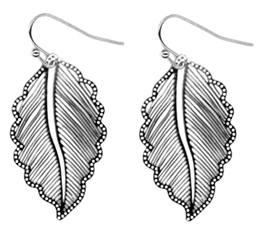 d9314e7a1ef0f Silver-tone Lightweight Feather Leaf Filigree Trendy Modern Metal Cut-out  Earrings