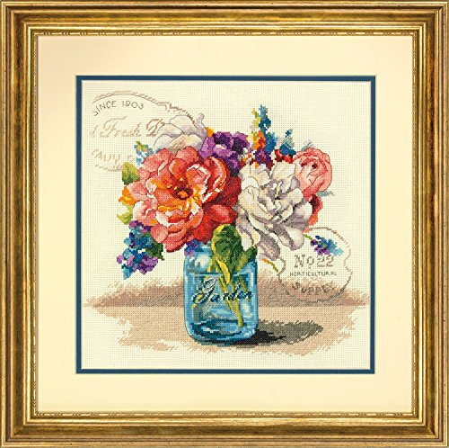 Dimensions 'Garden Bouquet' Counted Cross Stitch Kit for Beginners, 14 Count Ivory Aida Cloth, 12''L x 12''W