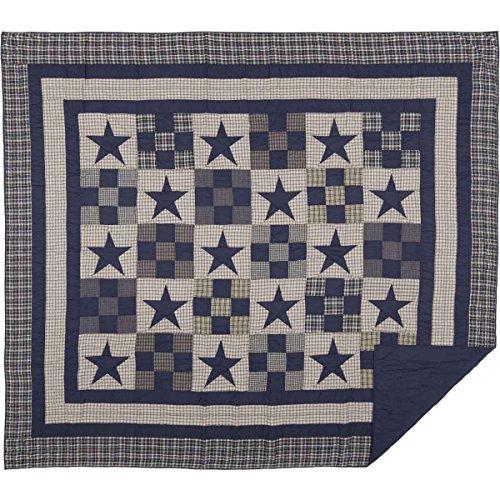 VHC Brands Primitive Bedding Blue Ninepatch Quilt, King, Nav