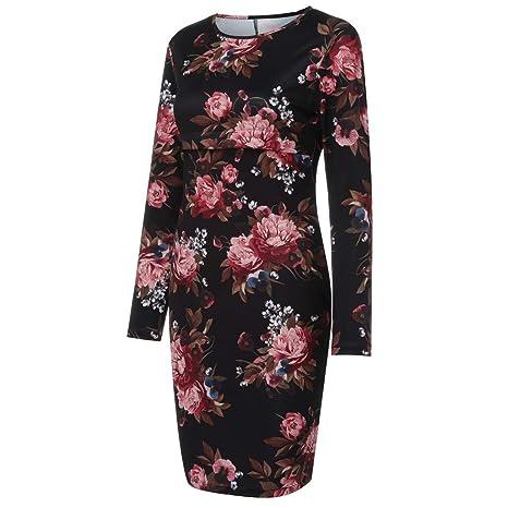 1a6f330c5ef1 Amazon.com  Fashion Women O-Neck Long Sleeve Floral Print Bodycon ...