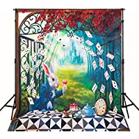 Photography Backdrop for Kids Birthday Party 5x6.5ft Photo Backdrop Castle Rabbits Poker Game Background Newborn
