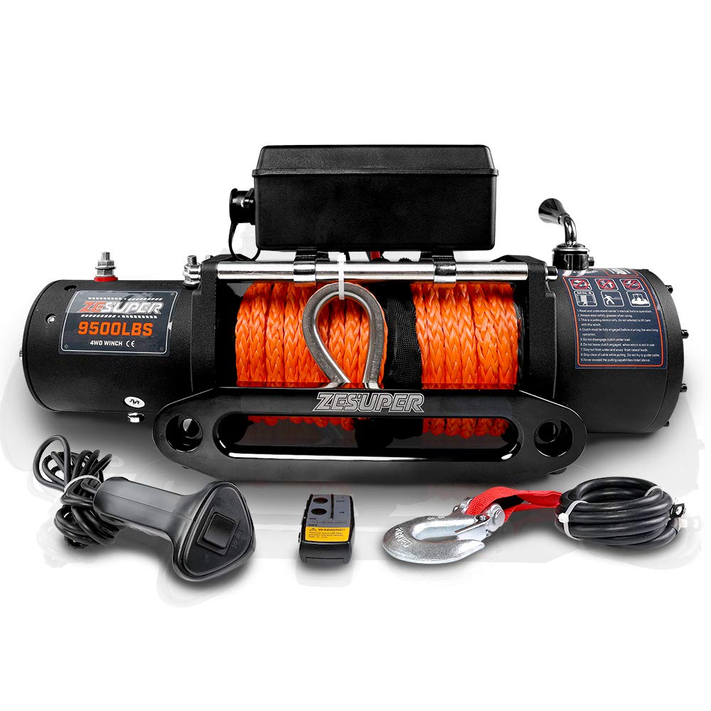 ZESUPER 9500-lb. Load Capacity ATV/UTV Electric Winch Kit, Waterproof IP67 Electric Winch with Hawse Fairlead, with Both Wireless Handheld Remote and Corded Control Recovery by ZESUPER