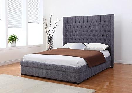 Furniturevilla Genesis Linen 6 Foot Bed Dark Grey, King Bed Frame ...