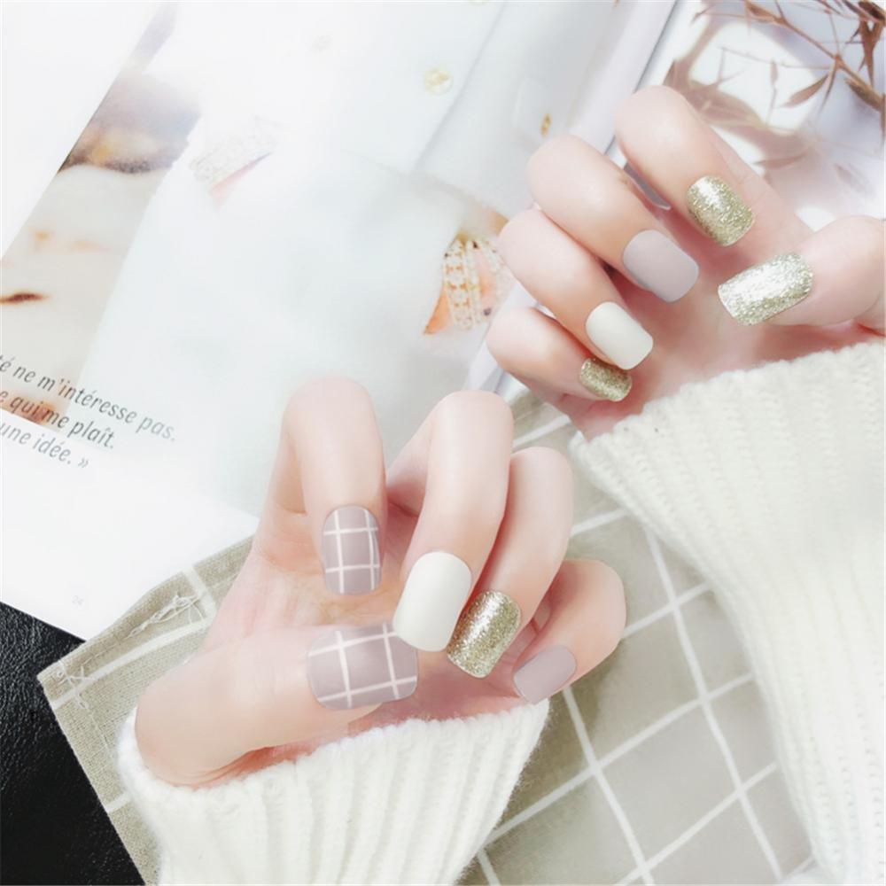 Arte de Uñas, Nail Art Tip & Glue Grids Pattern Glitter Matte Artificial False Nails Perfect Length Full Cover Beauty Art Decoration Manicura Pedicura para ...