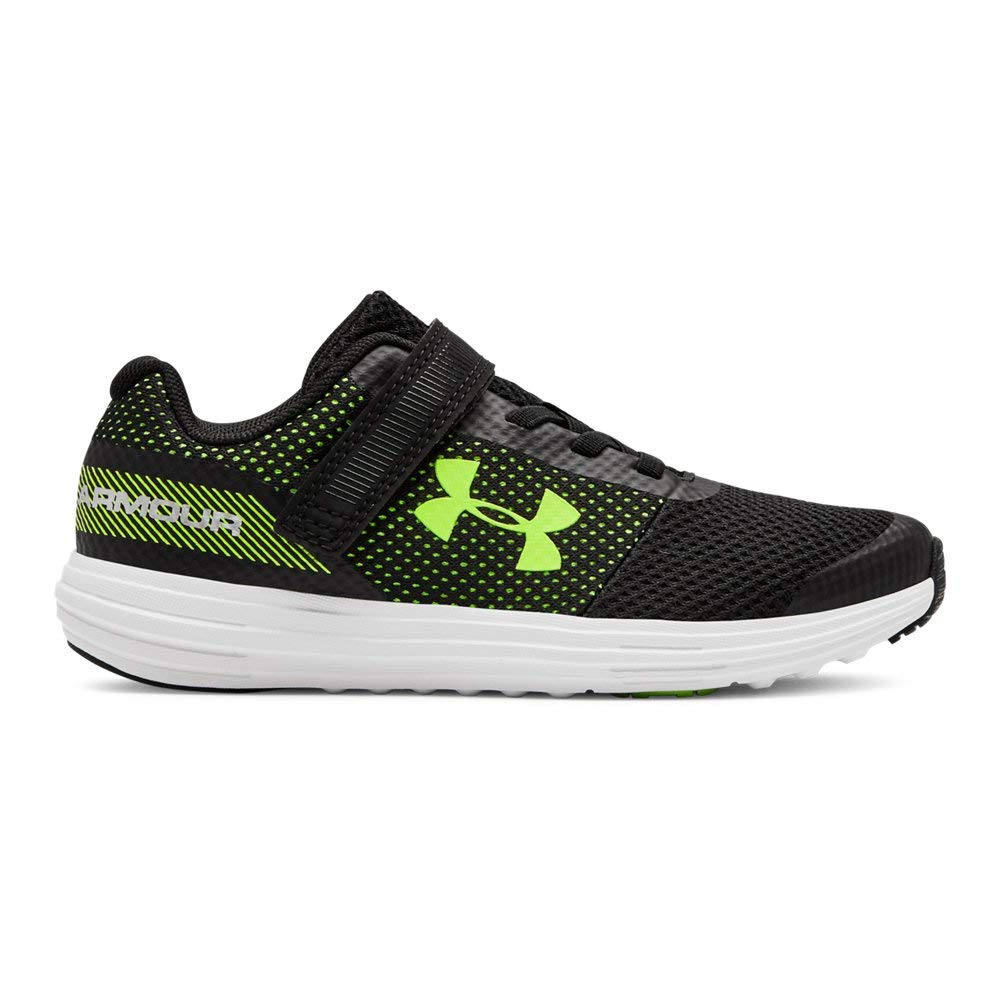 Under Armour Boys' Pre School Surge RN Alternate Closure Sneaker, Black (002)/White, 1