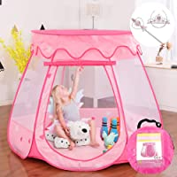 "Gentle Monster Pop Up Princess Tent, Pink Princess Castle for Girls Fairy Play Tents for Kids, Portable Playhouse Toy Suitable for Indoor or Outdoor Use 49"" X 33"" Large"