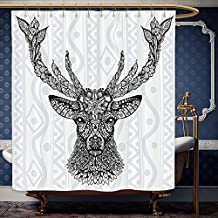 Wanranhome Custom-made shower curtain Deer Decor Figure of Aboriginal FloralPolynesian Ethnic Deer Pattern Mammal Artistic Boho DesignE Black White For Bathroom Decoration 36 x 78 inches