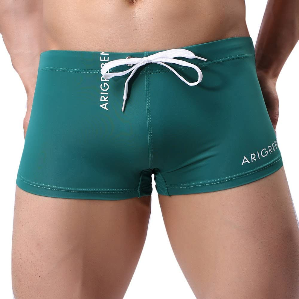 aihihe Swimsuit for Men, Square Leg Swimming Briefs Swim Boxer Briefs Solid Color Short Swim Swimsuit