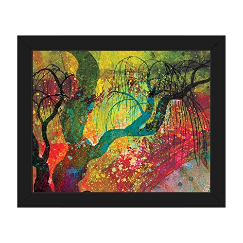 Willowing Chartreuse Tree Silhouette Abstract Wall Art Print on Canvas
