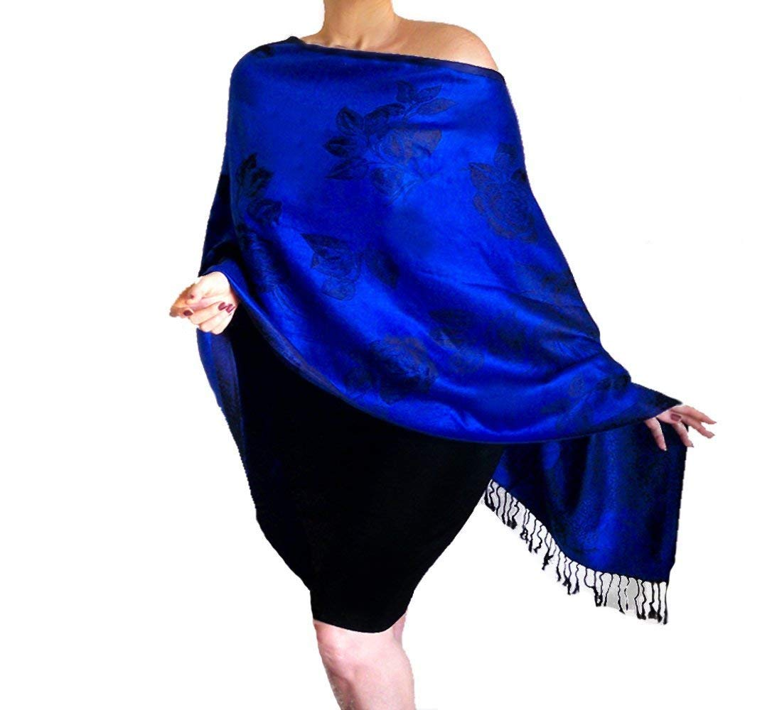 13d3f5c90c0 Plus Size Blue Shawl Evening Wrap Black Rose Scarf Off The Shoulder Top By  ZiiCi