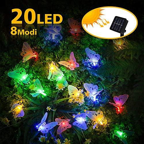 Nasharia LED Solar Lichterkette, 5M 20 LEDs 8 Modi IP65 Wasserdicht String Licht Multi Farbe Schmetterling Lichterkette mit Lichtsensor, Licht Deko für Garten, Bäume, Weihnachten, Hochzeiten, Partys