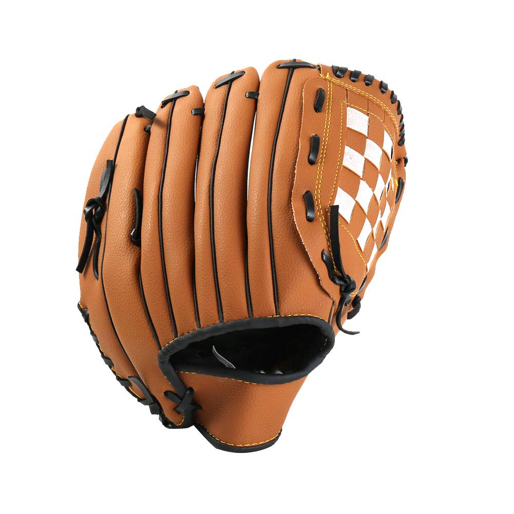 12.5inch Baseball Glove Softball Gloves Right Hand Throw Synthetic Leather Field Master Baseball Glove For Adult And Youth Brown 1PC