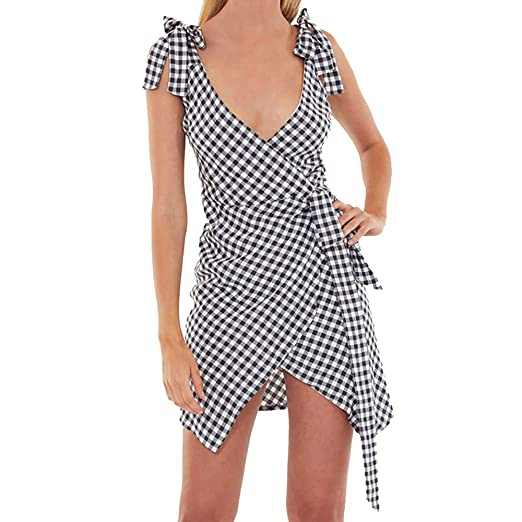 f11cb57b084 Owill Women Fashion Plus Size Plaid Sexy V-Neck Sleeveless Bandage Camis  Loose Dress at Amazon Women s Clothing store