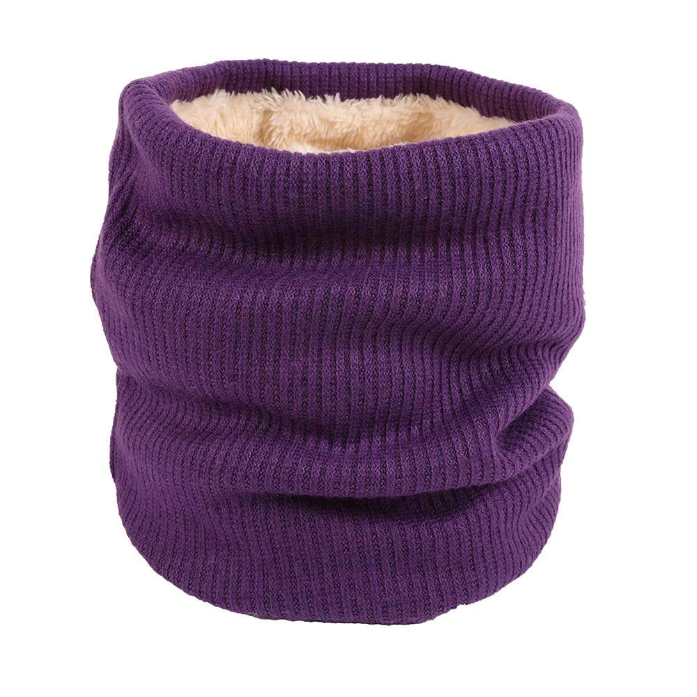 ANJUY Unisex Infinity Scarf Double-Layer Soft Fleece Lined Thick Knit Neck Warmer Circle Scarf Windproof
